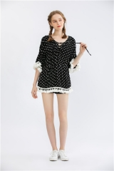 womens dotted print short dress v-neck midi dress 3/4 sleeve party dress