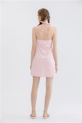 wovens sleeveless backless short dress .printting pinafore with back tie