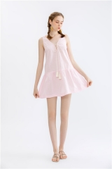 womens deep v neck sleeveless dress summer shortdress pink sundress