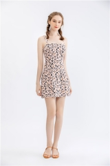 womens short dress sleeveless offshoulder sexy midi dress lepard print party dress