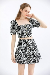 ladies two peices summer suit 2 peices floral print outfit ,crop tops and skirt set suits