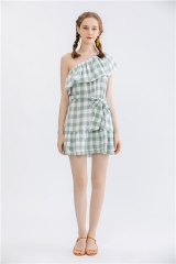 womens yarndye check dress one offshoulder midi dress