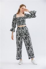 ladies floral printting two peices sets, 2 peices outfits, crop tops and long pants suits