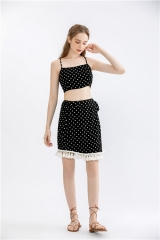 womens dotted print two pieces summer dress 2 pieces printting dress short summer dress crop top + skirt bottom set suits