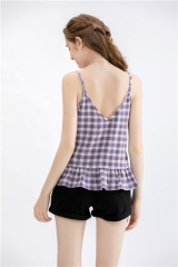 ladies sleeveless back short tops yarndye check summer top with ruffle hem