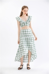 womens plaid dress suit 2 pieces sets summer dress 2 pieces outfit summer casual dress