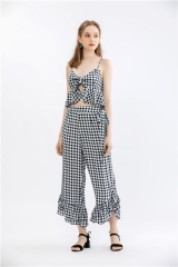 Womens plaid pant suit yarn dye outfit 2 pieces sets crop top long leg pant sets with ruffle hem