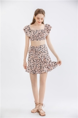 womens lepard print dress suits ,2 pieces sets summer dress crop top and short skirt outfit