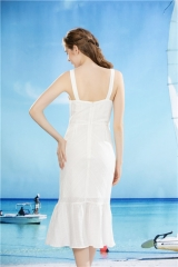 ladies white dress long sundress with shoulder strap summer dress long white pinafore
