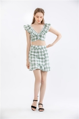 womens 2 pieces dress plaid crop top+skirt sets summer outfit casual dress short dress
