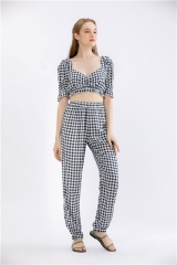 womens 2 pieces pantsuits yarndye plaid outfit two pieces jump suit casual outfit