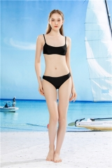 womens two pieces swim suit, triangle bikini sets 2 pieces bathing suits black swim wear