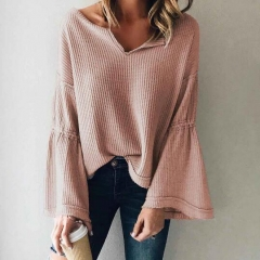 Cotton waffle knitted ladies womens blouse