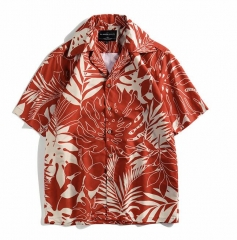 Mens Rayon 3D digital printed Hawaii camp collar yardage print shirts