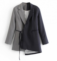 Womens irregular mid length suit blazer jacket