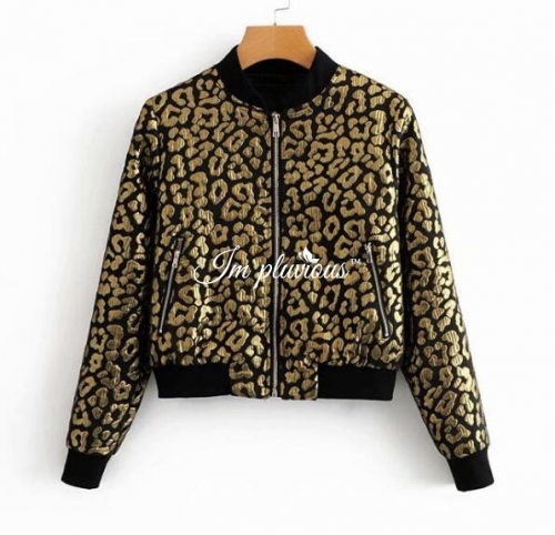 womens Jacquard bomber long sleeve jacket coat