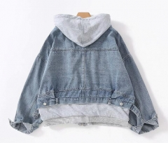 Denim fake both piece hoodie jacket pullover