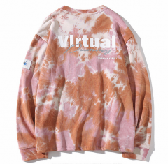 Mens cotton knitted tie dye long sleeve sweater hoodie pullover