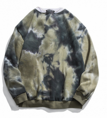 Mens blend fleece knitted tie dye long sleeve sweater hoodie pullover