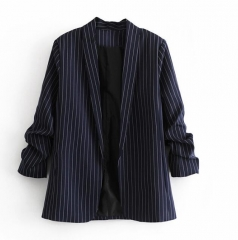 Womens lapel buttons thin stripe jacket