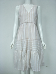 WOVEN STRIPE LONG DRESS