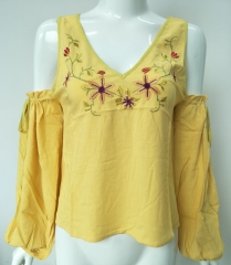 Women Woven Embroidery Blouse