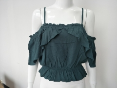 Ladies Neck Frill Blouse With Narrow Straps