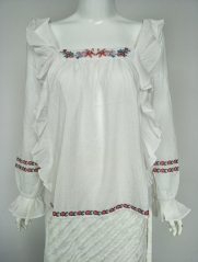 Ladies Rayon Embroidery Frill Blouse