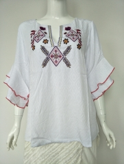 Ladies Rayon Embroidery butterfly sleeve Blouse