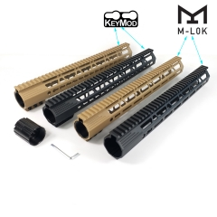 15 Inch M Lok/Keymod Handguard Picatinny Rail Mount System Tan/Black For .308/7.62(AR10)
