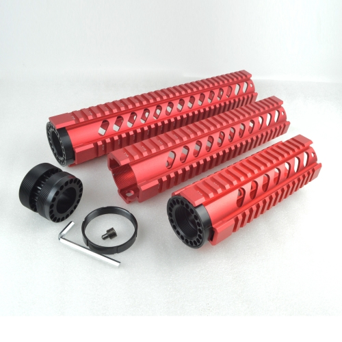 7, 10, 12 Inch Free Float Quad Rail Handguard For .223/5.56(AR15/M16) Spec  Red color