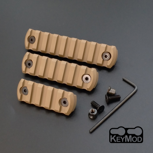 5, 7, 9 Slot CNC Aluminum Picatinny/Weaver Rail Section For Keymod Handguard(21mm) Tan Color