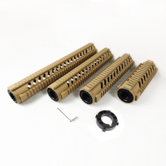 7,10,12,15 Inch Free Float Quad Rail Handguards  With Front end cap Tan color