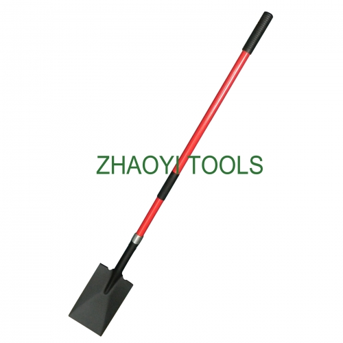 high quality US type straight fiberglass handle rectangle head long neck trenching ditch digging garden soil earth shovel spades