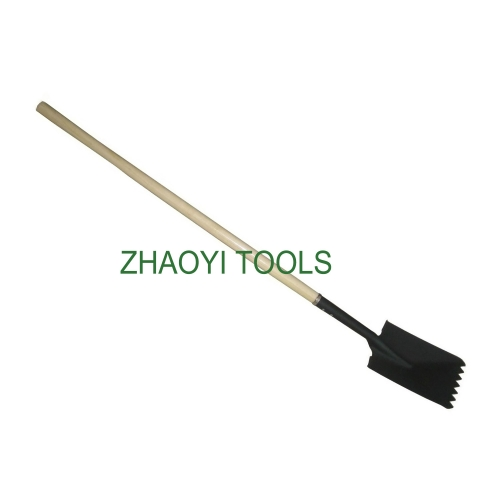 high quality straight wooden handle long neck steel roofing serrated shovel spades