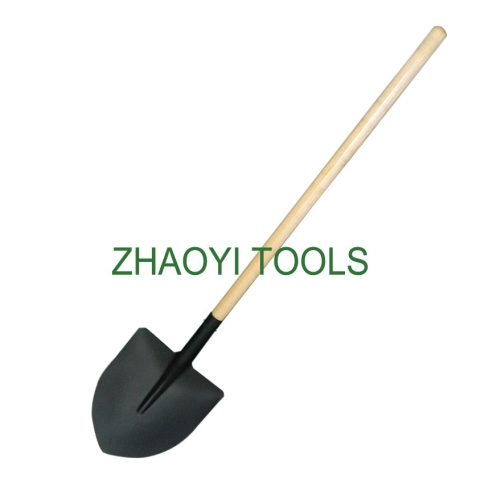 Spanish type straight wood handle point head long neck mining digging garden soil earth shovel spades