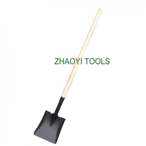 US type straight wood handle square head long neck snow digging garden soil earth shovel spades