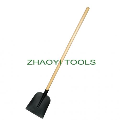 Europe type straight wood handle square head digging garden soil earth shovel spades