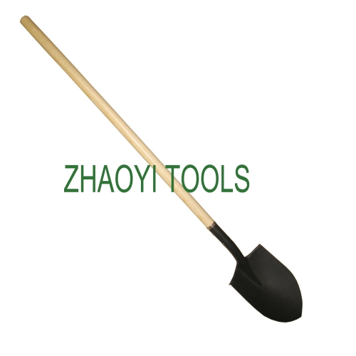US type straight wood handle point head long neck snow digging garden soil earth shovel spades