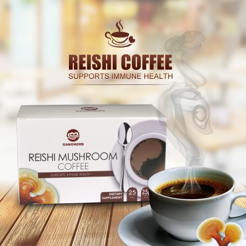100% Organic Certificated Black Coffee Ganoderma Reishi Mushroom Lingzhi Instant Coffee