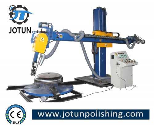 Abrasive belt metal dish head polishing machine