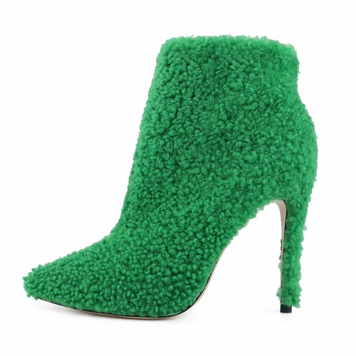 Nelly Green Shearling Ankle Boots Heeled Booties