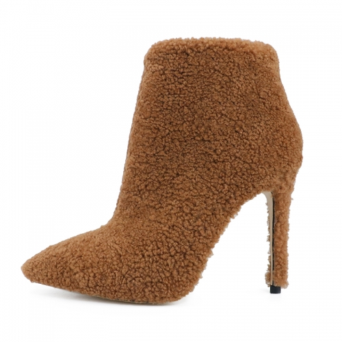 Nelly Brown Shearling Ankle Boots Heeled Booties