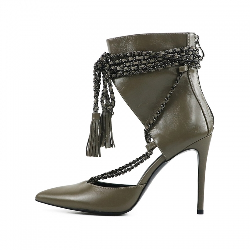 Charlotte Grey Leather Handmade Chain Lace-up Ankle Boots