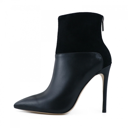 Laura Black Suede Leather and Black Cow Leather Ankle Boots