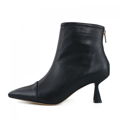 Gemma Black Cow Leather Ankle Boots