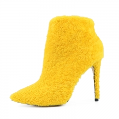 Nelly Yellow Shearling Ankle Boots Heeled Booties