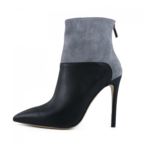 Laura Gray Suede Leather and Black Cow Leather Ankle Boots