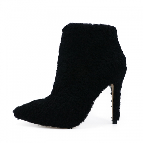 Nelly Black Shearling Ankle Boots Heeled Booties