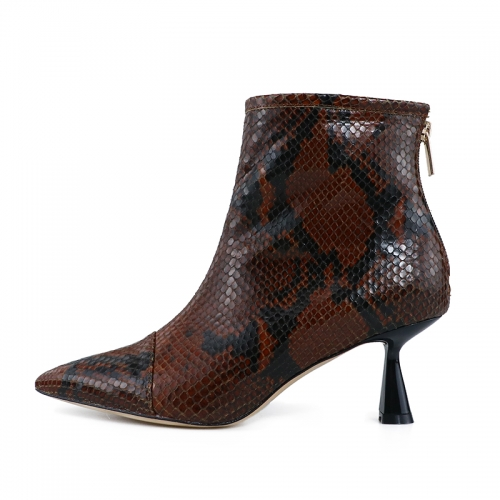 Gemma Brown Snake Printed Leather Ankle Boots